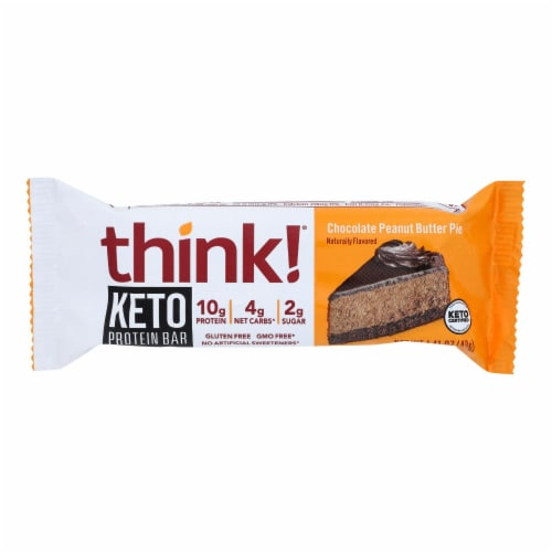 Think! Thin - Bar Keto Protein Chocoloate Peanut Butter Pie - CS of 10-1.41 OZ Perspective: front
