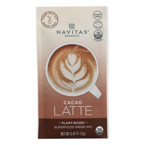 Navitas Organics - Latte Cacao - Case of 10 - 0.42 OZ Perspective: front