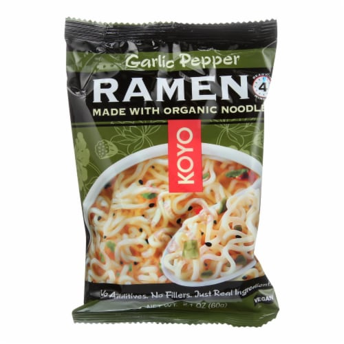 Koyo Garlic Pepper Ramen - Case of 12 - 2.1 OZ Perspective: front