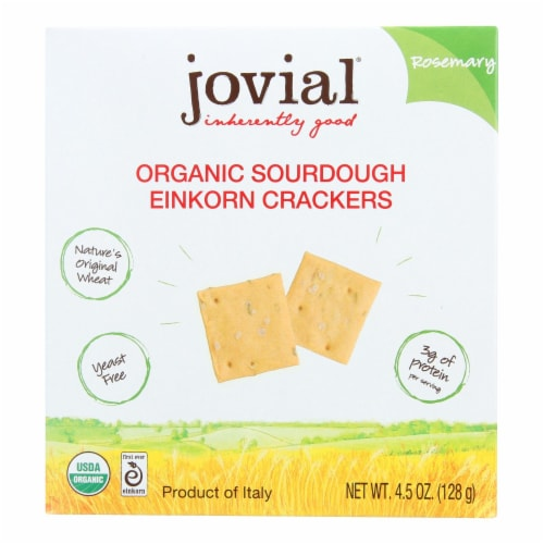 Jovial - Sourdough Einkorn Crackers - Rosemary - Case of 10 - 4.5 oz. Perspective: front
