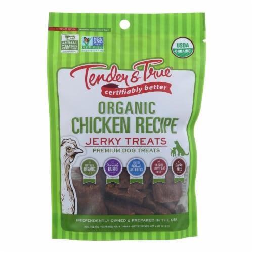 Tender & True Organic Chicken Jerky Treats  - Case of 10 - 4 OZ Perspective: front