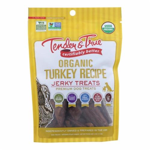 Tender & True Organic Turkey Jerky Treats  - Case of 10 - 4 OZ Perspective: front