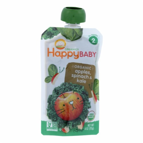 Happy Baby Organic Stage 2 Baby Food - Apple - Spinach & Kale Pouch - Case of 16 - 3.5 oz Perspective: front
