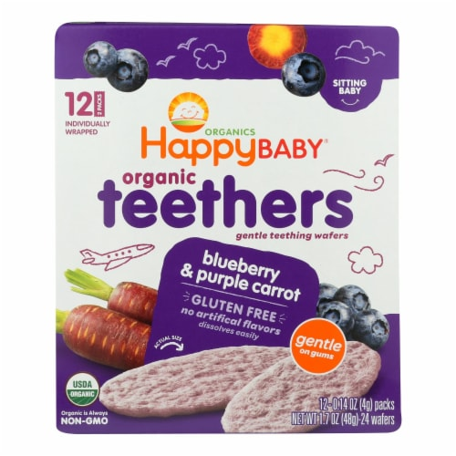 Happy Baby Teethers - Organic - Gentle - Blueberry and Purple Carrot - 1.7 oz - case of 6 Perspective: front