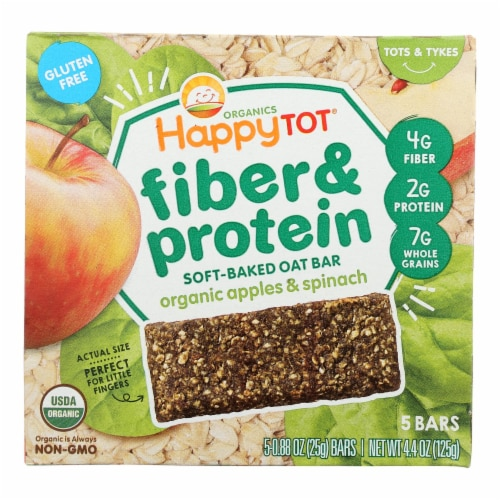 Happy Tot Soft Baked Oat Bar Organic Apples & Spinach  - Case of 6 - 5/.88OZ Perspective: front