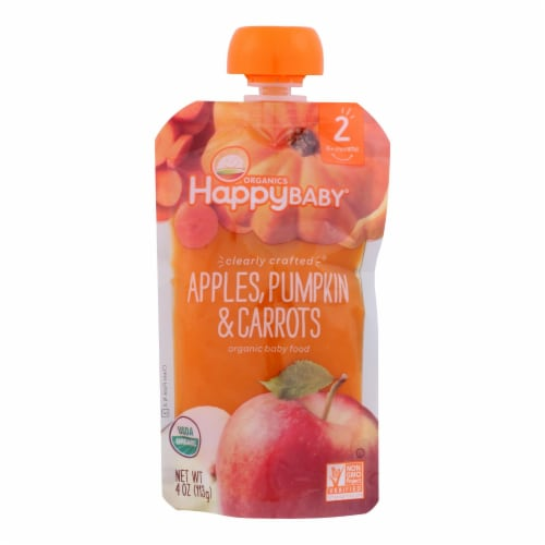 Happy Baby Happy Baby Clearly Crafted - Apples Pumpkin and Carrots - Case of 16 - 4 oz. Perspective: front