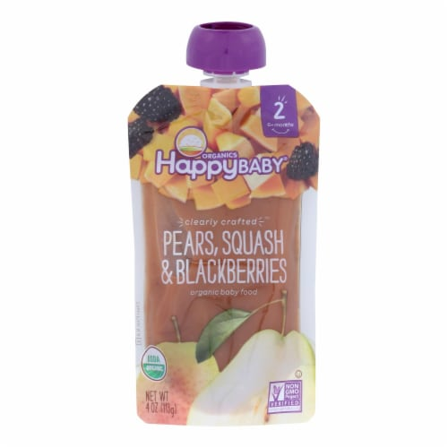 Happy Baby Happy Baby Clearly Crafted - Pears Squash and Blackberries - Case of 16 - 4 oz. Perspective: front