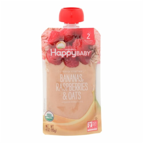 Happy Baby Happy Baby Clearly Crafted - Bananas Raspberries and Oats - Case of 16 - 4 oz. Perspective: front