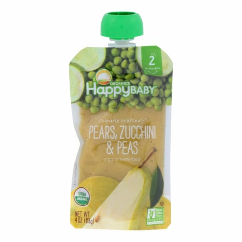 Happy Baby Happy Baby Clearly Crafted - Pears Zucchini and Peas - Case of 16 - 4 oz. Perspective: front