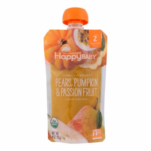 Happy Baby Happy Baby Clearly Crafted - Pears Pumpkin and Passion Fruit - Case of 16 - 4 oz. Perspective: front