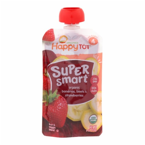 Happy Tot Stg 4 - Organic - Ban - Beets - Straw - Case of 16 - 4 oz Perspective: front