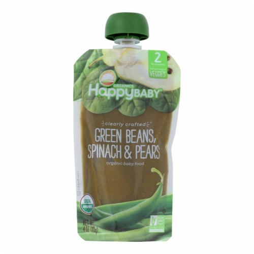 Happy Baby Organic Stage 2 Baby Food - Banana - Spinach - Pears - Case of 16 - 4 oz Perspective: front