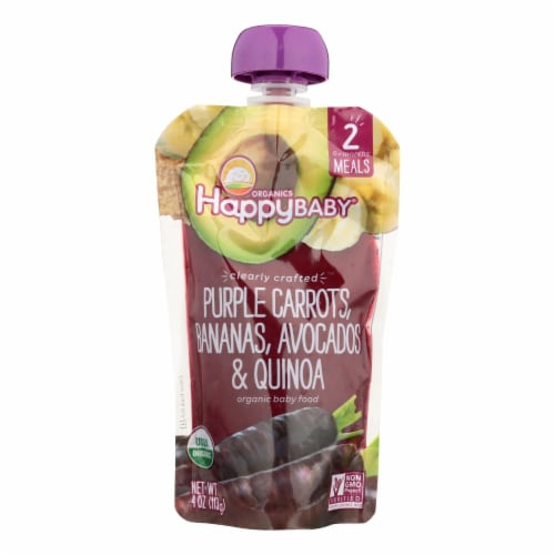 Happy Baby Organic Baby Food - Purple Carrots - Banana - Case of 16 - 4 oz Perspective: front