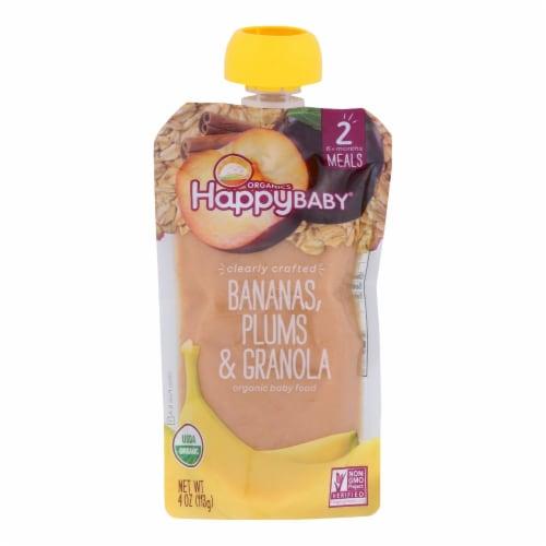 Happy Baby Organic Baby Food - Banana - Plum - Granola - Case of 16 - 4 oz Perspective: front