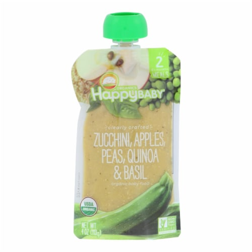 Happy Baby Organic Baby Food - Zucchini - Peas - Quinoa - Case of 16 - 4 oz Perspective: front
