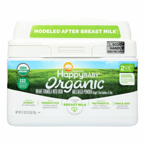 Happy Baby Organic Infant Milk Based Formula Powder - with Iron - Case of 4 - 21 oz Perspective: front