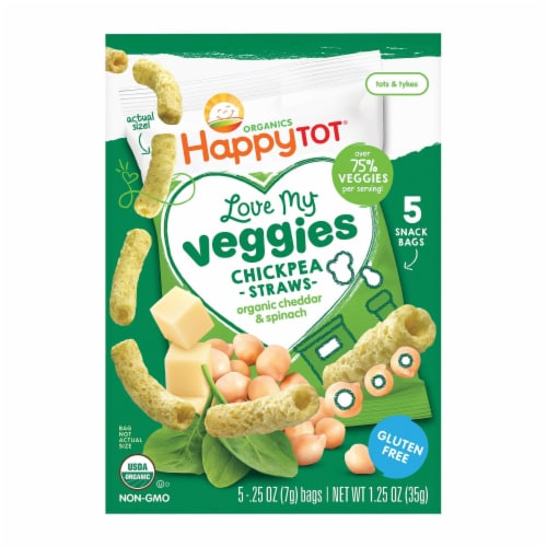 Happy Tot Organic Love My Veggies - Cheddar and Spinach Straws - Case of 6 - 1.25 oz Perspective: front