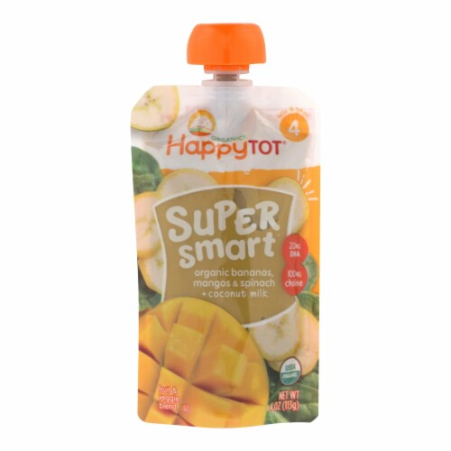 Happy Tot Super Smart Organic Bananas, Mangos, & Spinach + Coconut Milk  - Case of 16 - 4 0Z Perspective: front