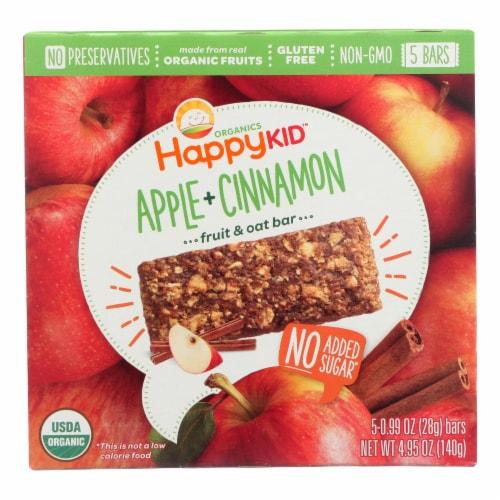 Happy Kid Fruit & Oat Bar, Apple & Cinnamon, 5 Bars  - Case of 6 - 5/.99 OZ Perspective: front