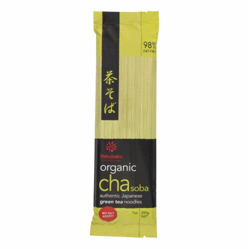 Hakubaku 100% Organic Noodles - Soba Green Tea - Case of 10 - 7.05 oz Perspective: front