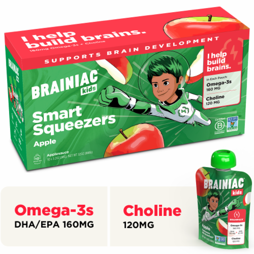 Brainiac Omega-3 Smart Squeezer Applesauce, No Added Sugar, Vitamin C, Apple, 10 Count Perspective: front