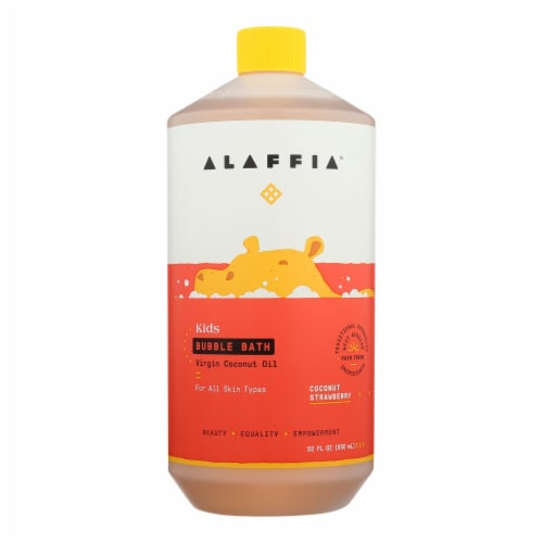Alaffia - Everyday Bubble Bath - Coconut Strawberry - 32 fl oz. Perspective: front