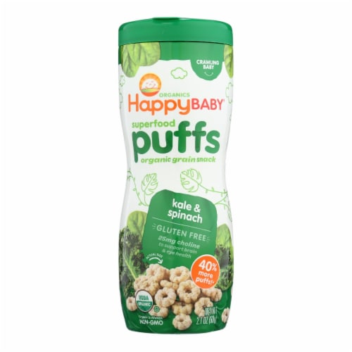Happy Baby Organic Puffs Greens - 2.1 oz - Case of 6 Perspective: front