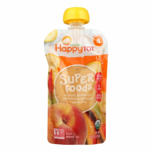 Happy Baby HappyTot Organic Superfood Banana Peach and Mango - 4.22 oz - Case of 16 Perspective: front