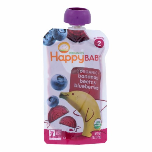 Happy Baby Organic Baby Food - Stage 2 - Banana Beets and Blueberry - Case of 16 - 3.5 oz Perspective: front