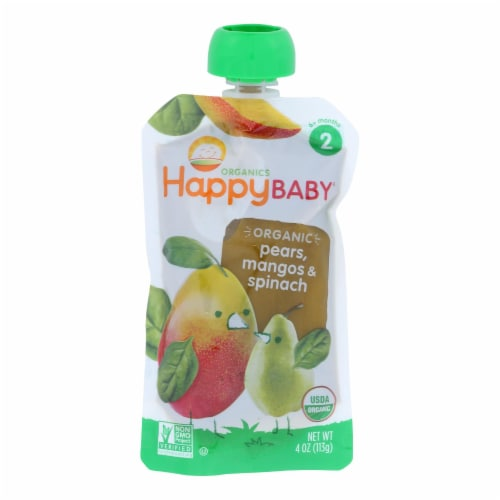 Happy Baby Organic Baby Food Stage 2 Spinach Mango and Pear - 3.5 oz - Case of 16 Perspective: front