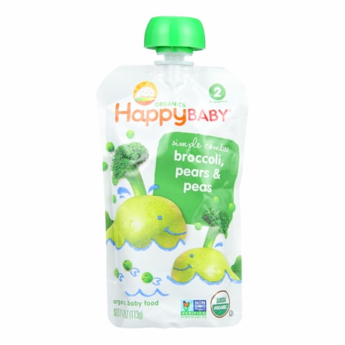 Happy Baby Organic Baby Food - Stage 2 - Broccoli Peas and Pears - Case of 16 - 3.5 oz Perspective: front