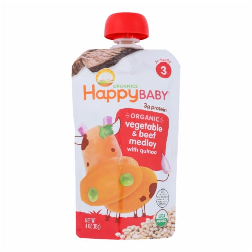 Happy Baby Organic Baby Food Stage 3 Beef Stew - 4 oz - Case of 16 Perspective: front