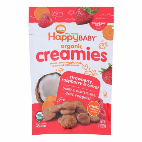 Happy Creamies Organic Snacks - Strawberry and Raspberry - Case of 8 - 1 oz Perspective: front