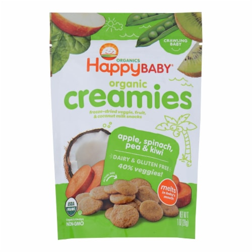 Happy Creamies Organic Snacks - Apple Spinach Pea Kiwi - Case of 8 - 1 oz Perspective: front