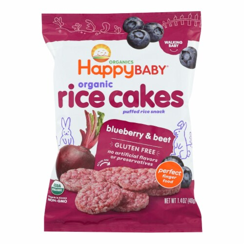 Happy Baby Happy Munchies Rice Cakes - Organic Blueberry and Beet - 1.4 oz - Case of 10 Perspective: front