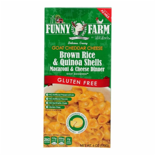 Funny Farm Goat Cheddar Cheese Gluten-Free Macaroni & Cheese Dinner  - Case of 8 - 6 OZ Perspective: front