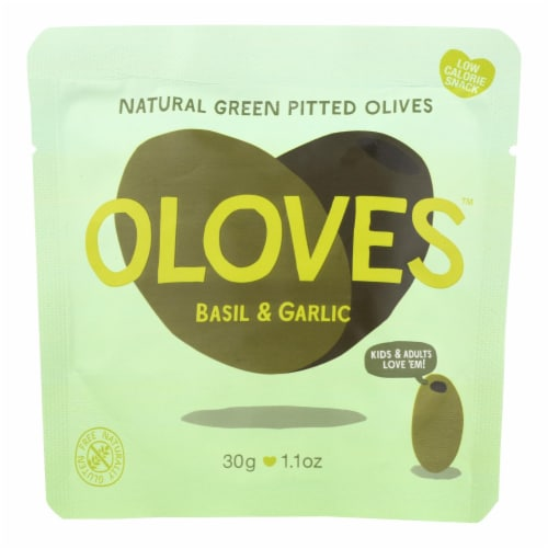 Oloves Green Pitted Olives - Basil and Garlic - Case of 10 - 1.1 oz. Perspective: front