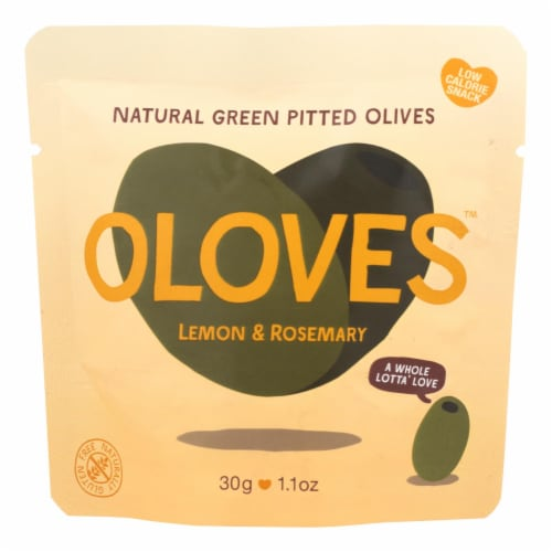 Oloves Green Pitted Olives - Lemon and Rosemary - Case of 10 - 1.1 oz. Perspective: front