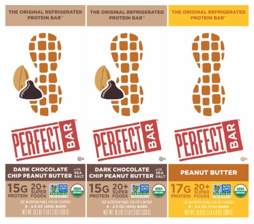Perfect Bar Dark Chocolate Chip Peanut Butter & Peanut Butter Bundle Perspective: front