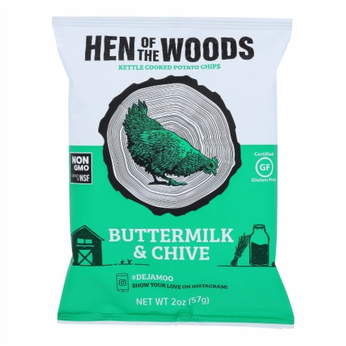 Hen Of The Woods -  Buttermilk Chive Kettle Chips - Case of 30 - 2 oz Perspective: front
