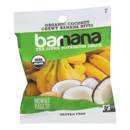 Barnana Organic Chewy Banana Bites - Coconut - Case of 12 - 1.4 oz Perspective: front
