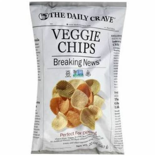 The Daily Crave Veggie Chips Breaking News, 20 oz (Pack of 4) Perspective: front