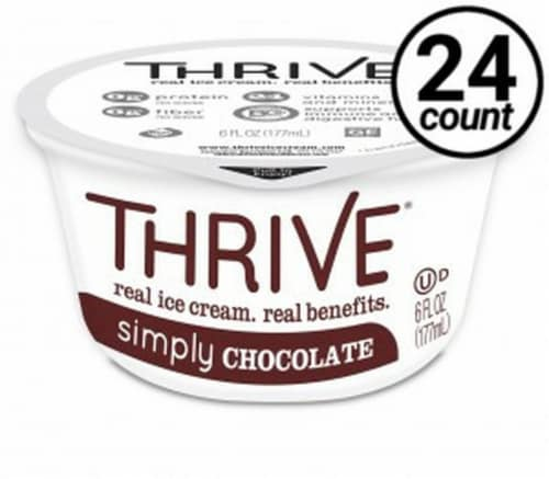 Thrive Frozen Nutrition, Simply Chocolate Ice Cream, 6 oz Cups (24 count) Perspective: front