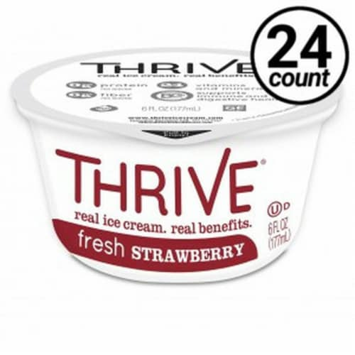 Thrive Frozen Nutrition, Fresh Strawberry Ice Cream, 6 oz Cups (24 count) Perspective: front