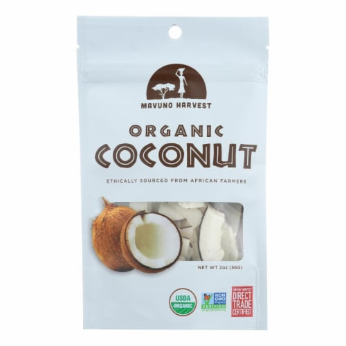 Mavuno Harvest - Organic Dried Fruit - Dried Coconut - Case of 6 - 2 oz. Perspective: front