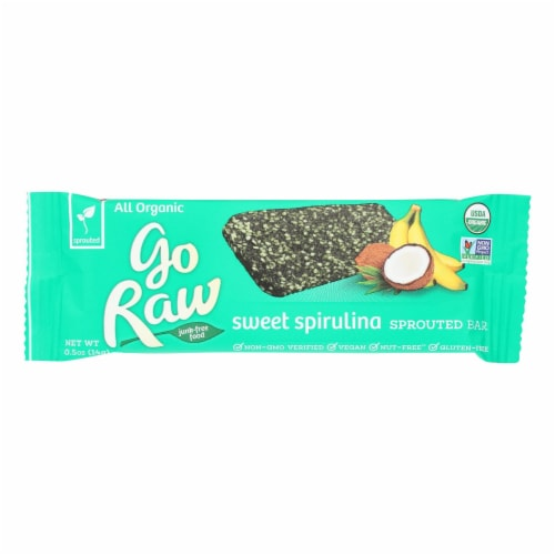 Go Raw - Organic Sprouted Bar - Sweet Spirulina - Case of 10 - 0.493 oz. Perspective: front