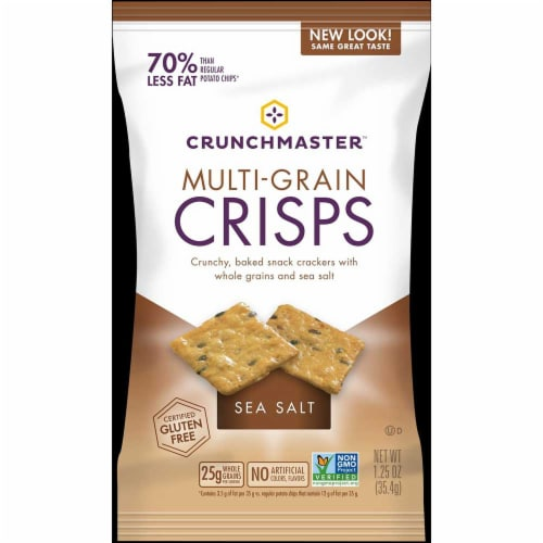Crunchmaster Single Serve Sea Salt Multi Grain Crisps Cracker, 1.25 Ounce -- 24 per case. Perspective: front