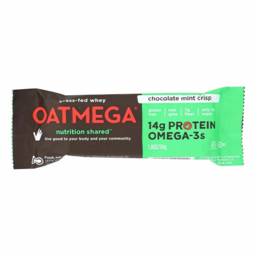 Oatmegabar Protein Bar - Dark Chocolate Mint Crisp - 1.8 oz Bars - Case of 12 Perspective: front