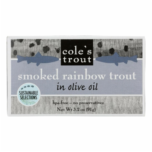 Cole's Smoked Rainbow Trout in Olive Oil - 3.2 oz - Case of 10 Perspective: front