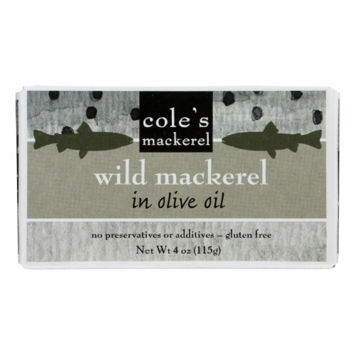 Cole's Wild Chub Mackerel in Olive Oil - 4.4 oz - Case of 10 Perspective: front